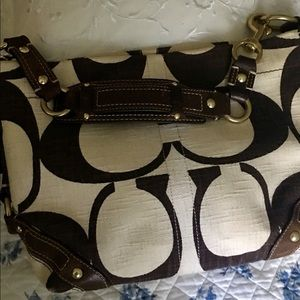 Coach Cream & Brown Canvas with Leather Purse
